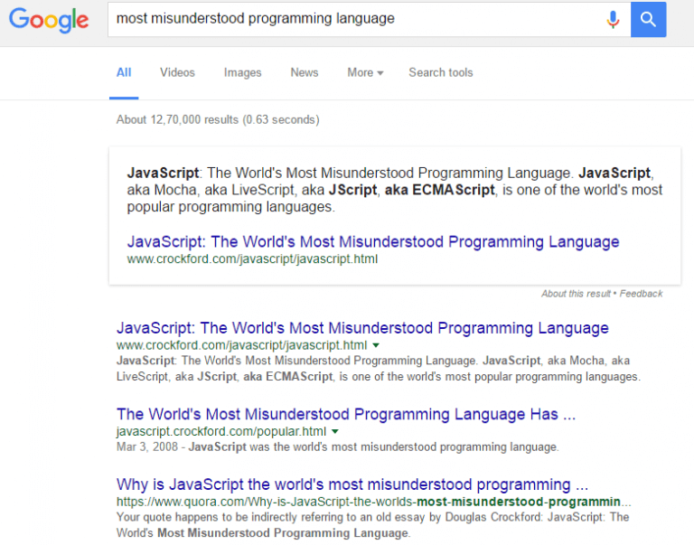 Javascript Google Search Result